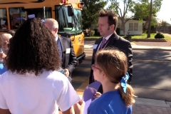 MCEAC Steve Watson greets students at Buckeye Elementary School