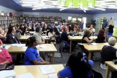 Community members gathered in the Buckeye Elementary School library for an overview of the school.