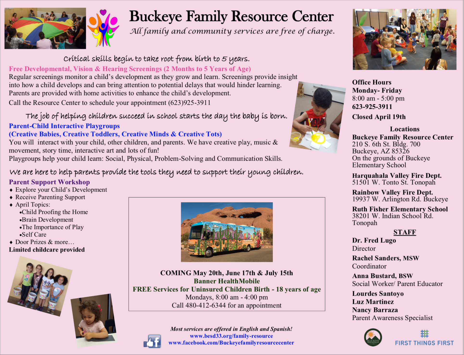 Buckeye Family Resource Center. May 2019 calendar. Attached PDF version link on bottom right side after May back view photo