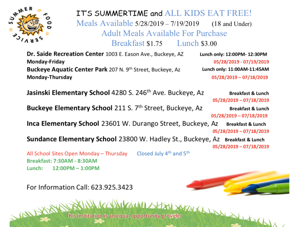 Summer Meal site flyer. PDF copy located on bottom right corner of this image.