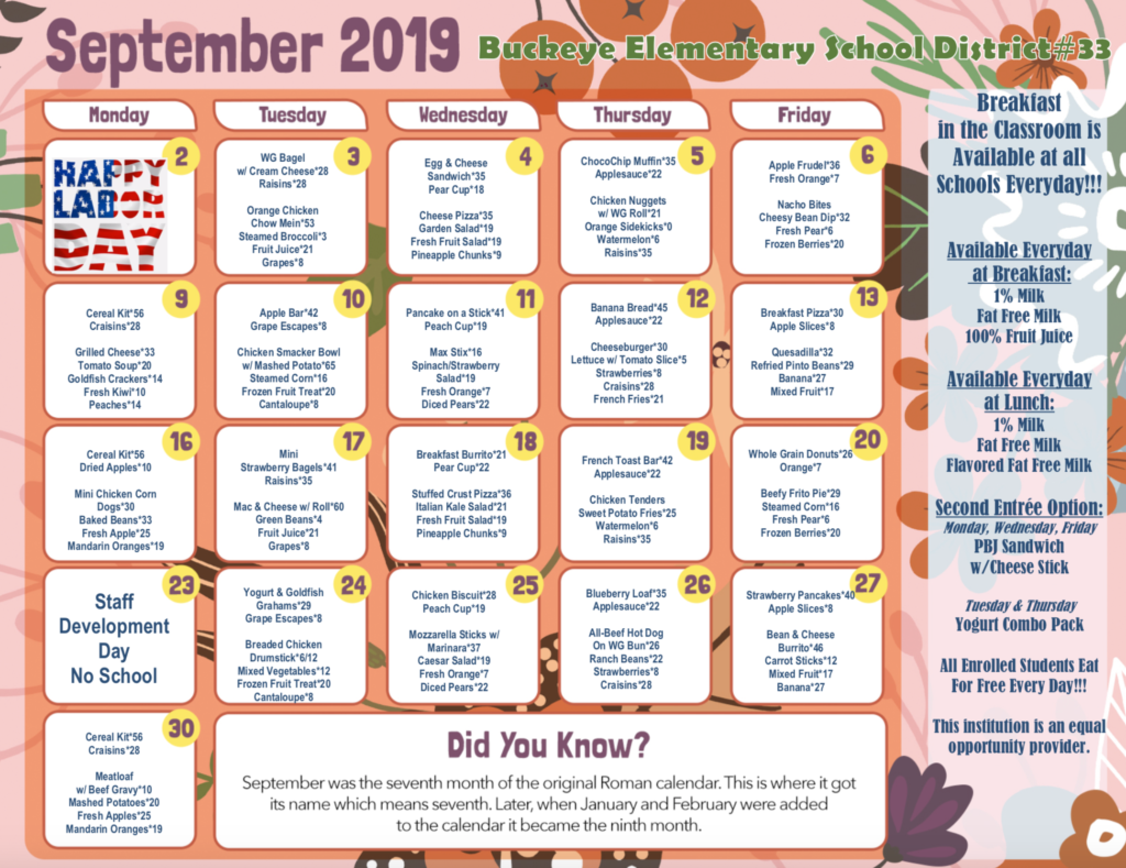 Link to PDFv version of September  breakfast and lunch menu located at bottom right corner
