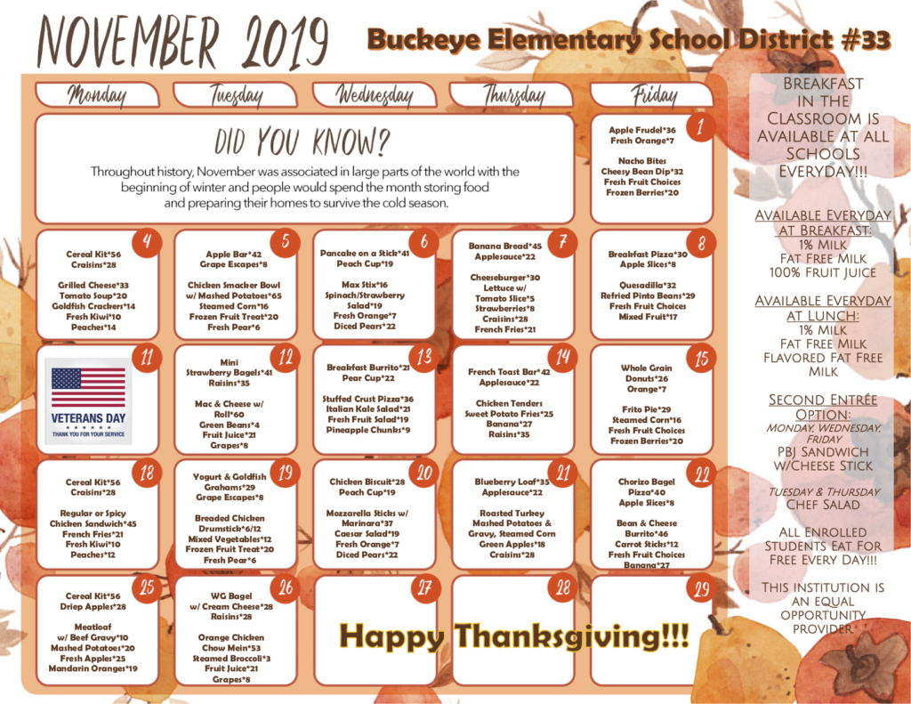 This is an image of The District breakfast and lunch menu for the month of November. The PDF link is located on the bottom right corner of the image.