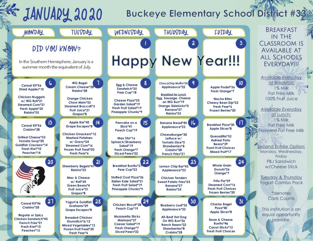 This is an image of The District breakfast and lunch menu for the month of January 2020. The PDF link is located on the bottom right corner of the image.