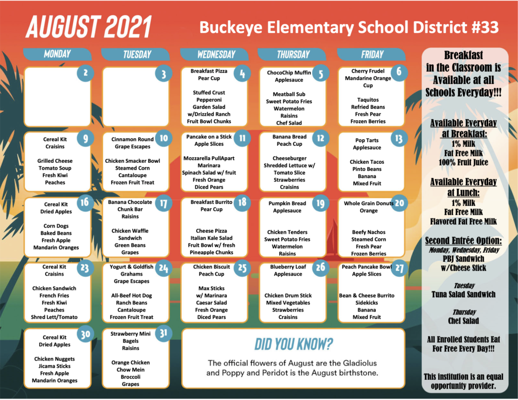 Pdf version of August 2021 menu is located on the bottom right hand corner of this image. Pdf will be linked to August Menu text