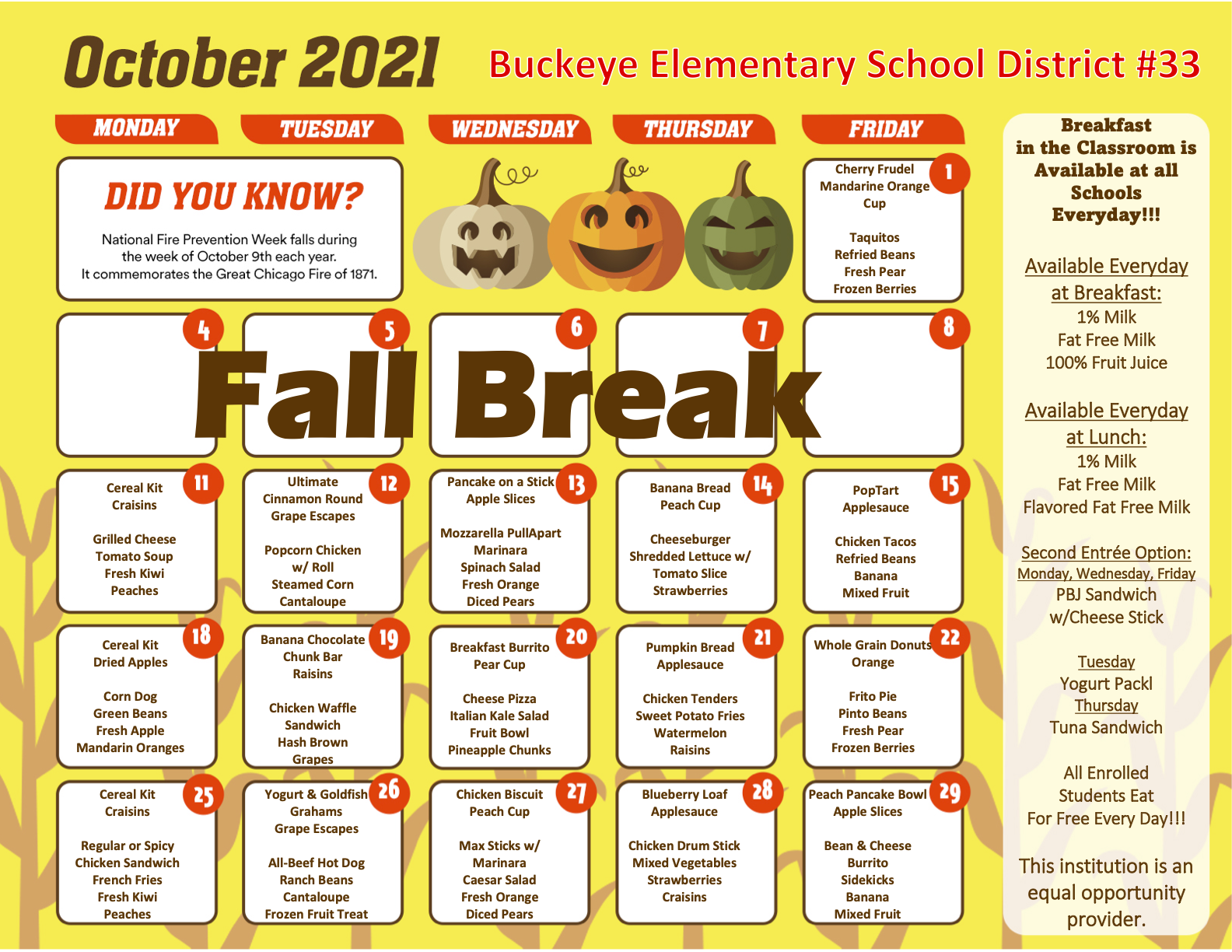 Pdf version of October 2021 menu is located on the bottom right hand corner of this image. Pdf will be linked to October Menu text